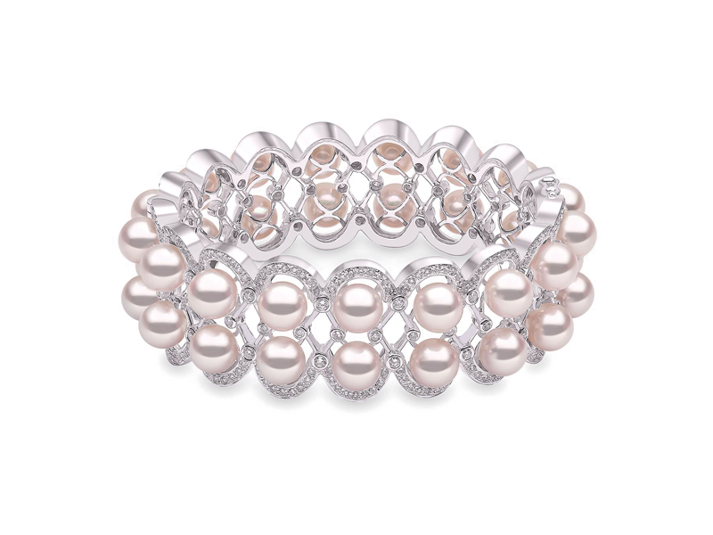 Yoko London - Bracelet Mayfair Akoya Pearl, en or blanc ornée de perles d'Akoya et de diamants