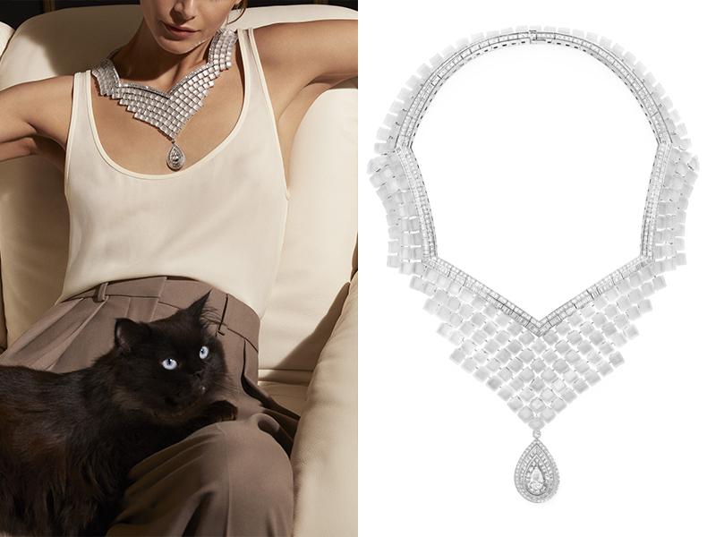 Boucheron - Pavés de Cristal collier serti d'un diamant poire, de diamants baguette et de cristal de roche, pavé de diamants, sur or blanc