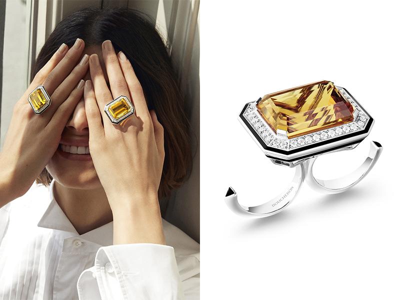 Boucheron - Bague Duo taille émeraude sertie d'un béryl héliodore de 31,03 ct et d'onyx, pavée de diamants avec laque noir, sur or blanc