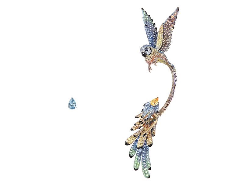 Boucheron - Motifs d'oreilles Nuri sertis d'une aigue marine taille poire de 132ct, d'un berly jaune taille poire de 155ct, de saphirs multicolores et de tsavorites