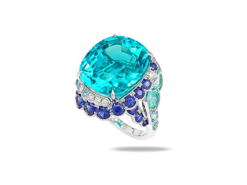 David Morris Bague Paraiba, saphir bleu et diamant