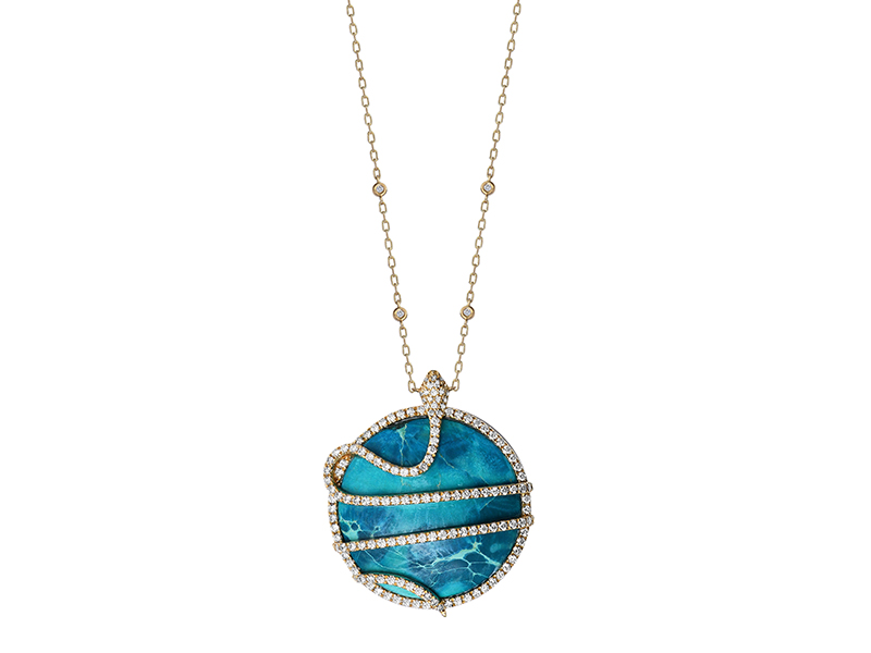 Djula - Gold pendant set with diamonds and decorated with a cabochon turquoise