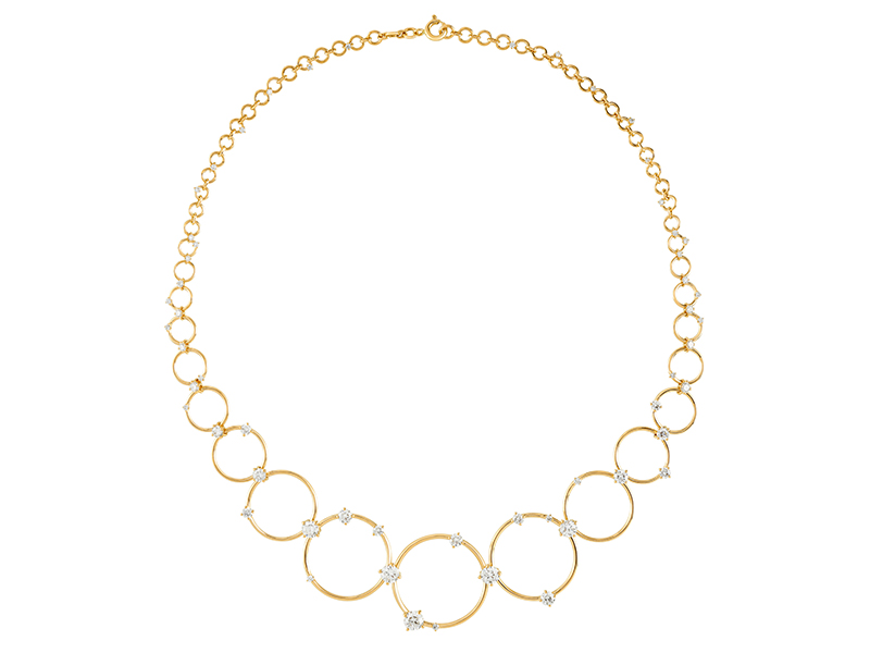 Fernando Jorge - Aerial Loops necklace mounted on yellow gold set with diamonds