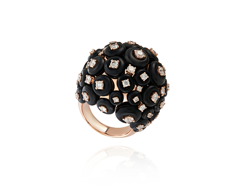 Fernando Jorge - Cluster Ring on rose gold set with diamonds and horn