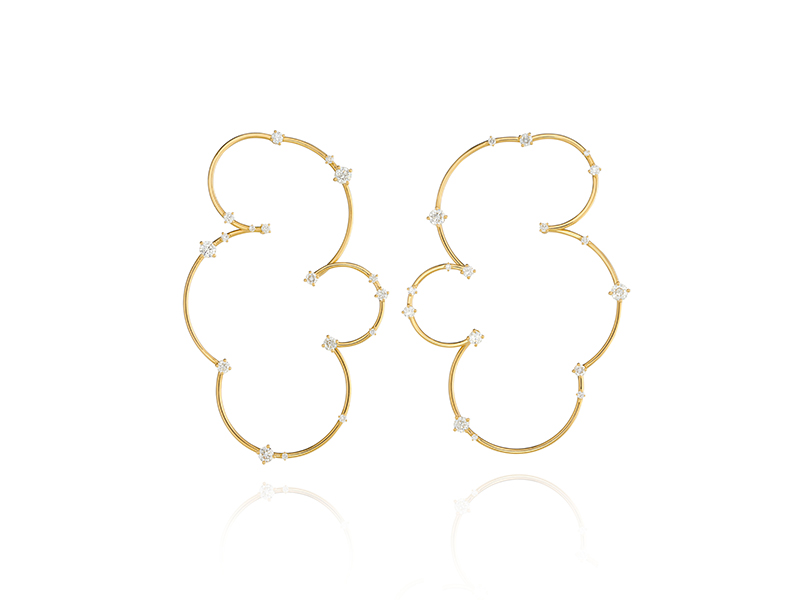 Fernando Jorge -Contortionist earrings mounted on yellow gold with diamonds