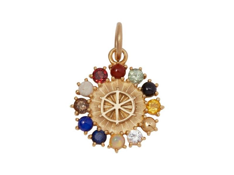Foundrae - Médaillon d'Ether miniature en or ornée de jaspe magnétique, saphirs, citrine, diamant, opale, lapis-lazuli, topaz, bois pétrifié et de grenat