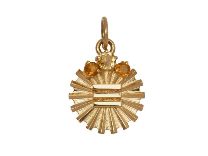 Foundrae - Médaillon de l'insigne du métal en or orné de citrine