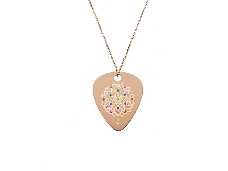 Jenny Dee Jewelry - Pychedelia Joy pink gold necklace set with rubies, sapphires and tsavorites