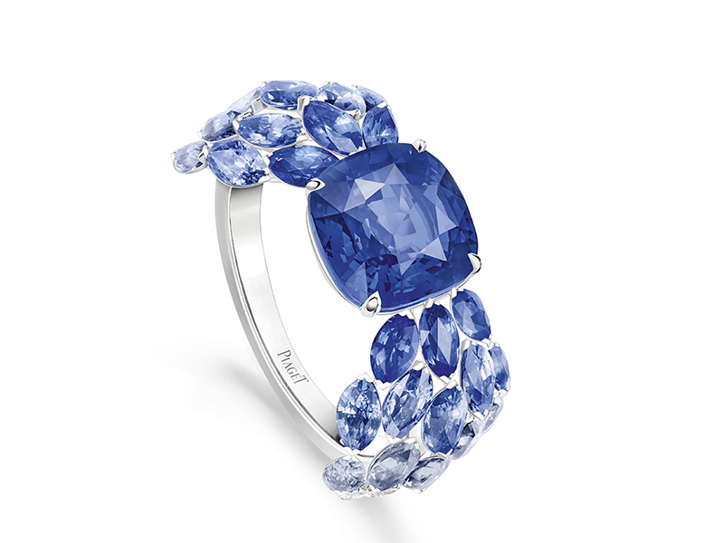 Piaget - Blue Waterfall ring set with sapphires and diamonds