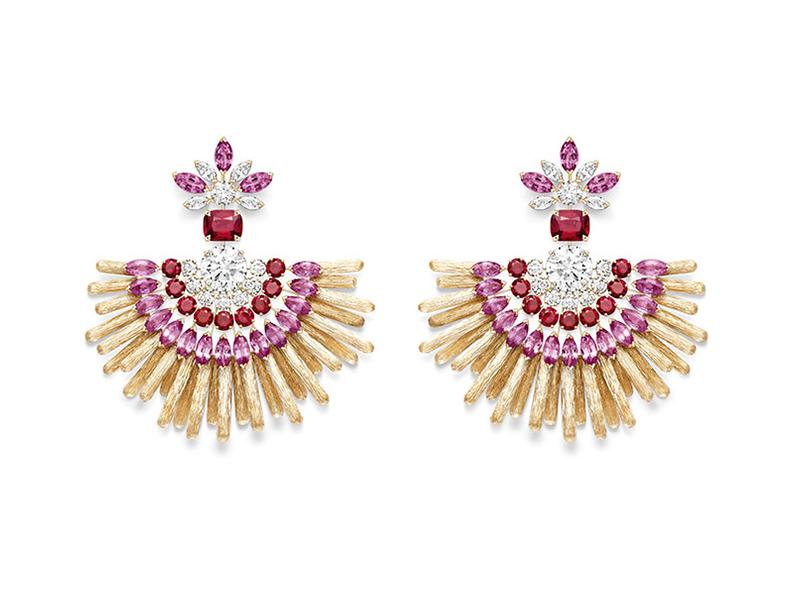 Piaget - Boucles d'oreilles Desert Sunbow serties de diamants, spinelles rouges, rubis et saphirs