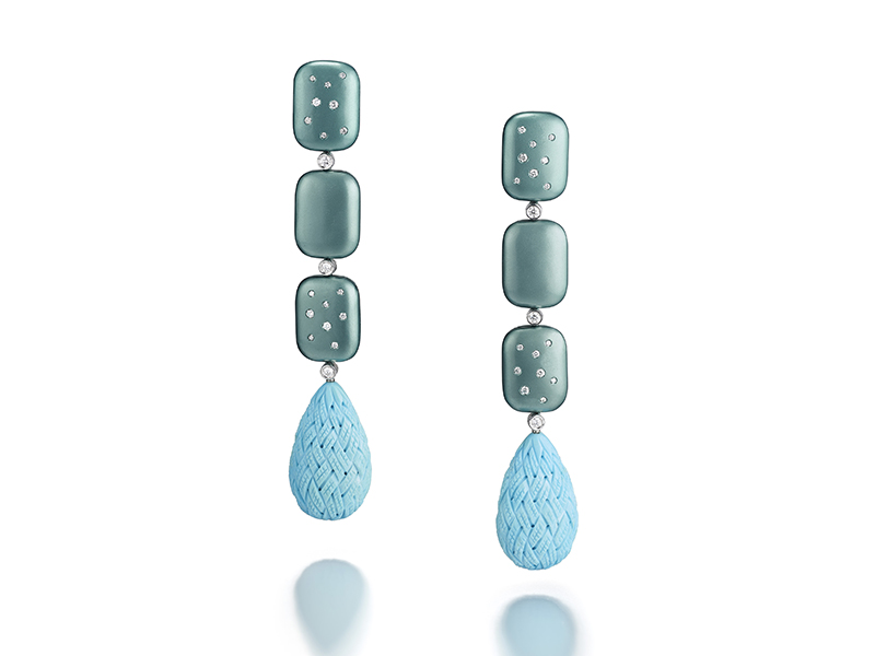 Suzanne Syz - Titanium and turquoise earrings with diamonds