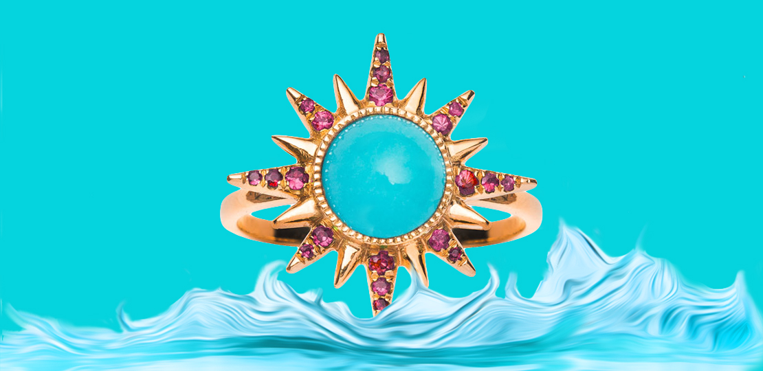 Jenny Dee Electra Ring turquoise