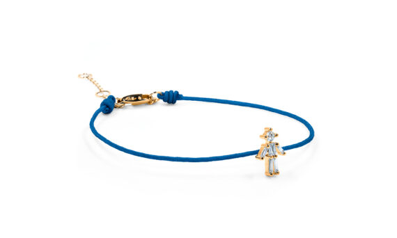 Little Ones Paris Little Boy blue thread bracelet with six diamonds in rose gold