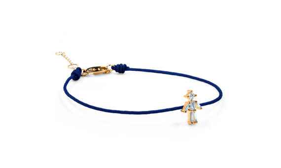 Little Ones Paris Little Boy dark blue thread bracelet with six diamonds in rose gold