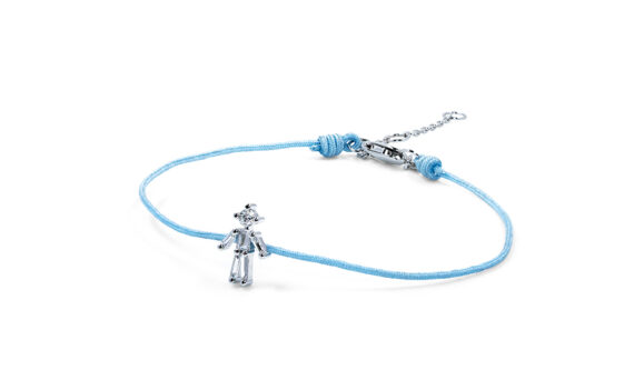 Little Ones Paris Little Boy light blue thread bracelet in white gold
