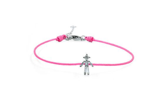 Little Ones Paris Little Boy pink thread bracelet in white gold