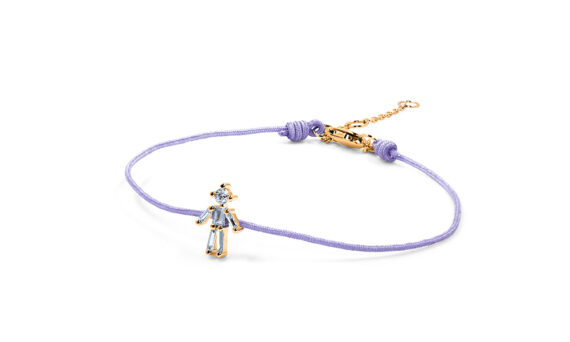 Little Ones Paris Little Boy purple thread bracelet with six diamonds in rose gold