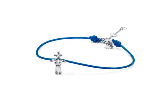 Little Ones Paris Little Girl blue thread bracelet with six diamonds in white gold