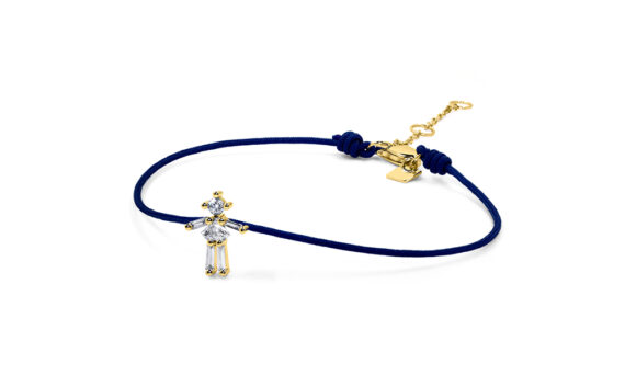 Little Ones Paris Little Girl dark blue thread bracelet with six diamonds in yellow gold