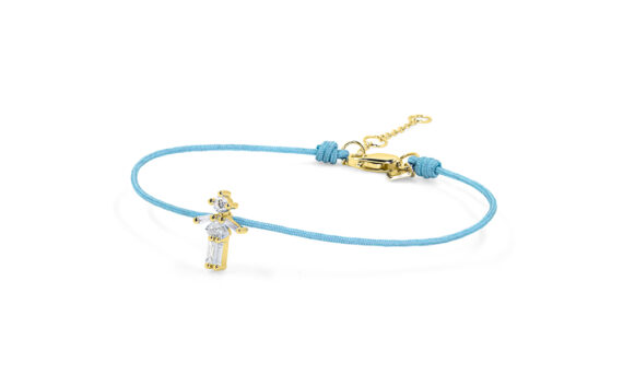 Little Ones Paris Little Girl light blue thread bracelet with six diamonds in yellow gold