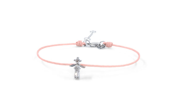 Little Ones Paris Little Girl nude color thread bracelet with six diamonds in white gold