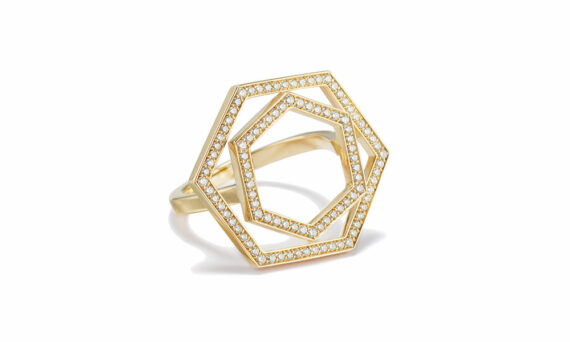 Sandrine de Laage Inception rose ring 18ct yellow gold