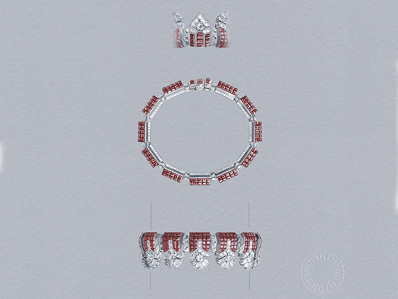 Van Cleef & Arpels - Bracelet monté en or blanc serti de rubis