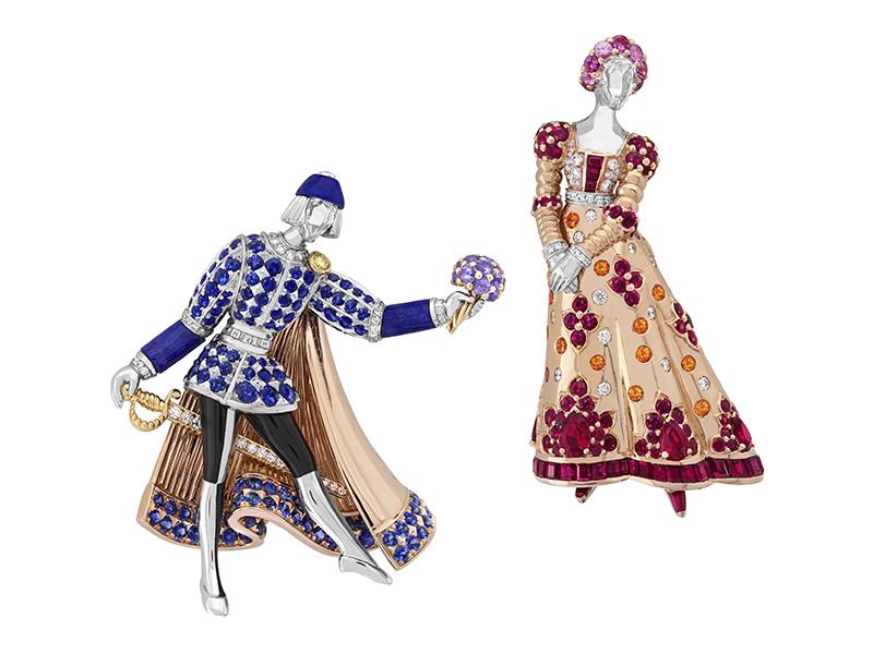 Van Cleef & Arpels - Clips en or blanc, rose, jaune et laque noire sertis de rubis, saphirs de couleur, grenats spessartites, lapis-lazuli, diamants blancs et jaunes