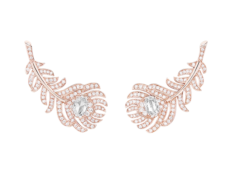 Boucheron - Boucles d'oreilles Plume de Paon en or rose serties de diamants