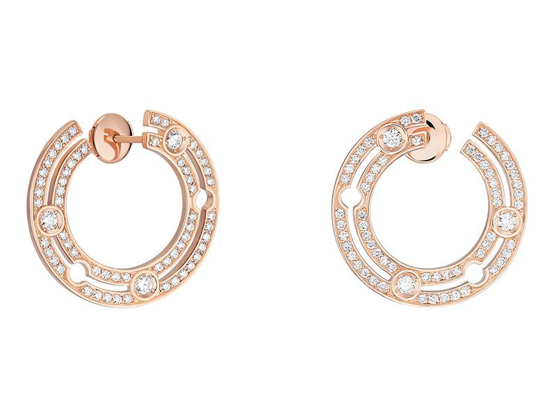 Dinh Van - Créoles Pulse en or rose serties de diamants