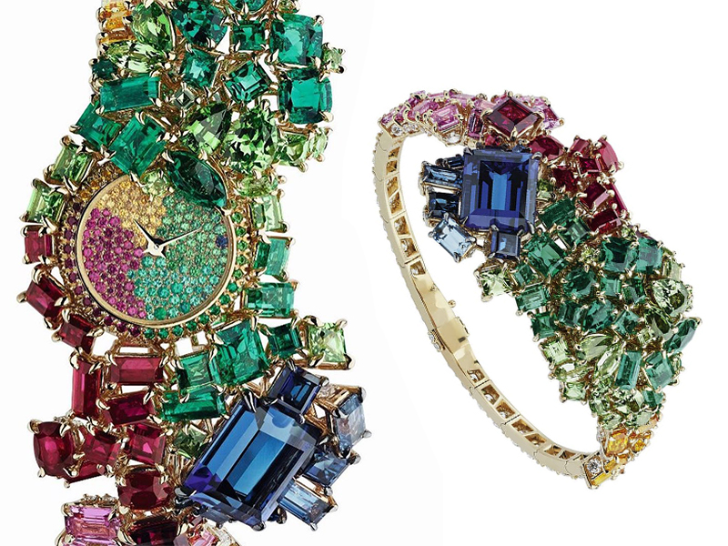 Dior - Secret watch paved with colored stones
