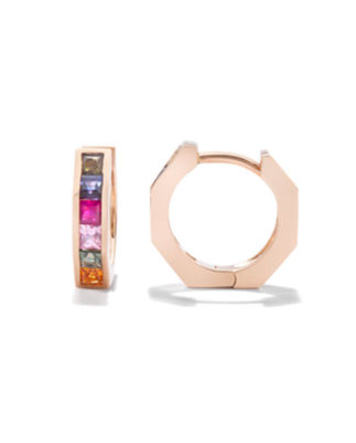 Jolly Bijou Otto mini huggies rose gold multicolored sapphires princess cut