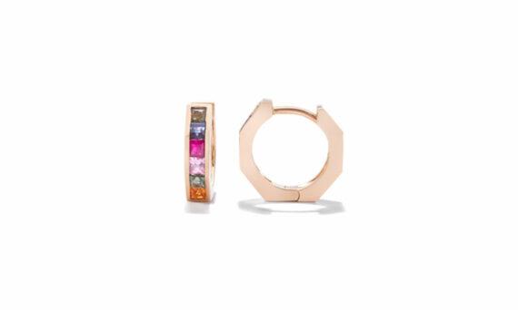 Jolly Bijou Otto mini huggies rose gold multicolored sapphires princess cut