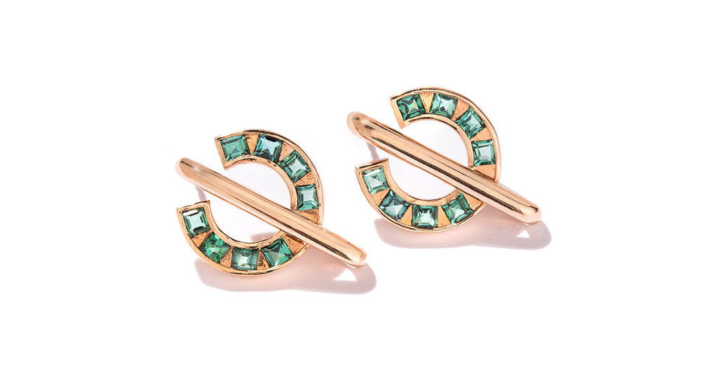 Boucles d'oreilles vertes Sundial