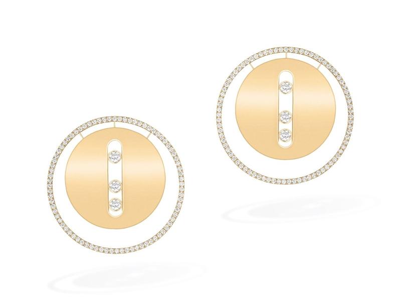 Messika - Boucles d'oreilles Lucky Move GM en or jaune serties de diamants