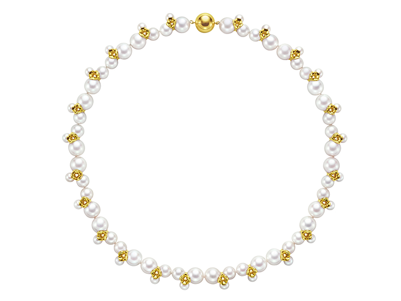 M/G TASAKI - Illusion necklace mounted on yellow gold with freshwater pearls