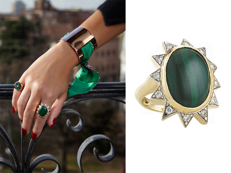 Nomad Jewels - Green Athina ring mounted on yellow gold with malachite and white diamonds