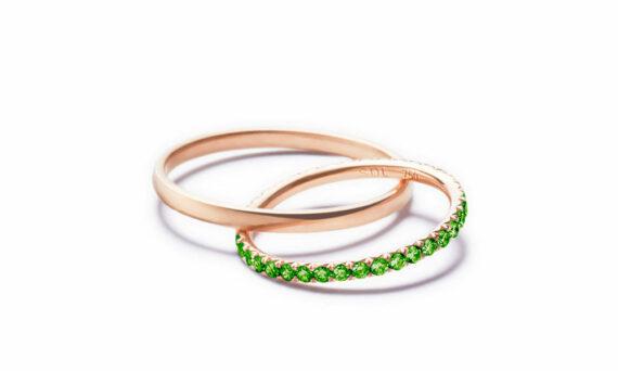 Sandrine de Laage Boyfriend ring mounted on 18ct rose gold set with tsavorites
