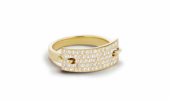 Sandrine de Laage Nom de plume diamond ring yellow gold diamonds