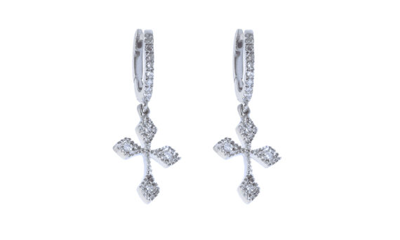 De Jaegher Baby cross hoops white gold diamonds