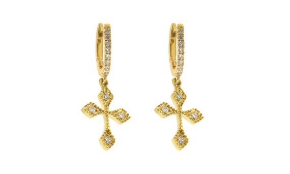 De Jaegher Baby Cross hoops yellow gold diamonds