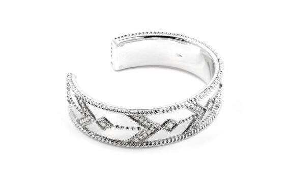 De Jaegher Broken arrow cuff white rhodium 3