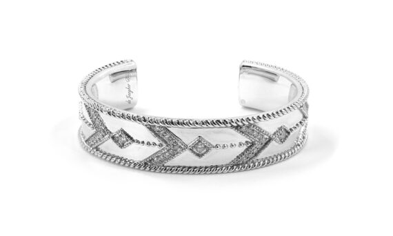 De Jaegher Broken arrow cuff mounted on sterling silver set with white diamonds - white rhodium