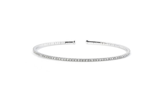 De Jaegher Lightly cuff mounted sterling silver set with white diamond front