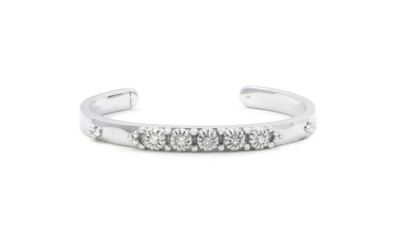 De Jaegher Sunny Bubbles cuff mounted on sterling silver set with white diamonds