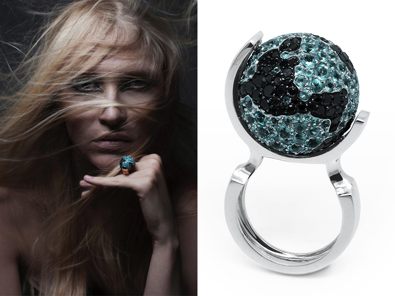 Ilona Orel - Ring World Famous mounted on white gold with tourmaline paraiba and black diamonds