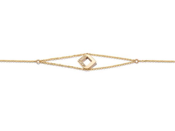Jolly Bijou - Chevron bracelet mounted on 14ct yellow gold set with round cut diamonds