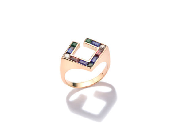 Jolly Bijou - Open square ring mounted on 14ct rose gold set with sapphires, tourmalines and diamonds