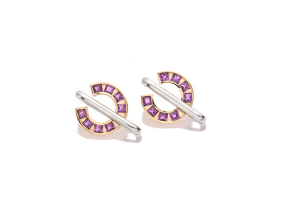 Jolly Bijou - Sundial earrings mounted on 14 ct white and yellow gold set with amethysts
