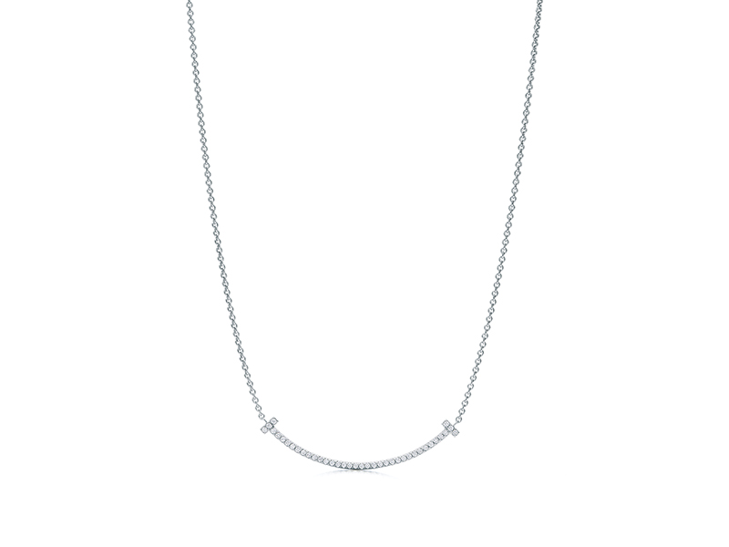 Tiffany & Co. - Pendentif Tiffany T Smile en or blanc serti de diamants